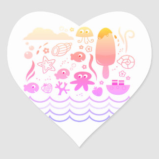 Heart shaped Original sticker with Mare creatures