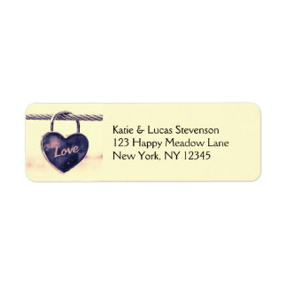 Heart Shaped Padlock Attached to a Rope Return Address Label