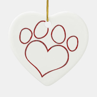 Heart Shaped Paw Print Dog Cat Puppy Kitten Ceramic Ornament