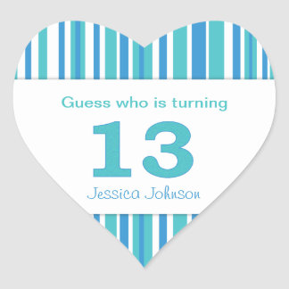 Heart Shaped Personalized 13th Birthday Stickers
