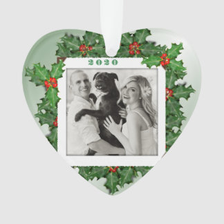 Heart Shaped Photo First Christmas Holly Leaves Ornament
