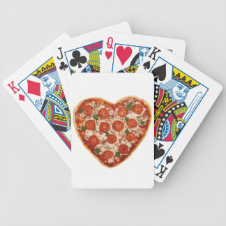 heart shaped pizza bicycle playing cards