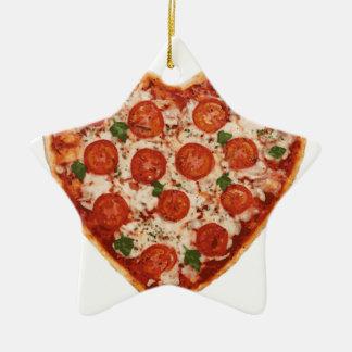 heart shaped pizza ceramic ornament