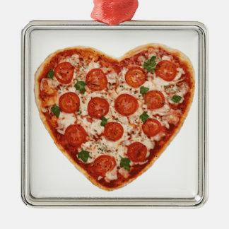 heart shaped pizza metal ornament