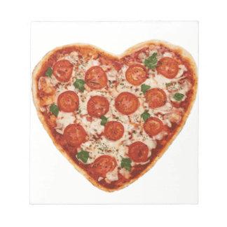 heart shaped pizza notepad