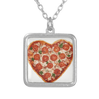 heart shaped pizza silver plated necklace