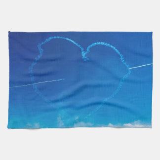 Heart-shaped plane trails kitchen towel