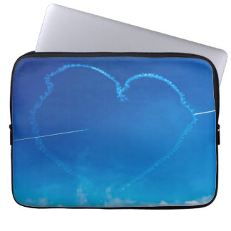 Heart-shaped plane trails laptop sleeve