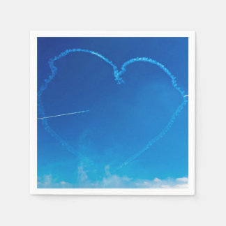 Heart-shaped plane trails paper napkins