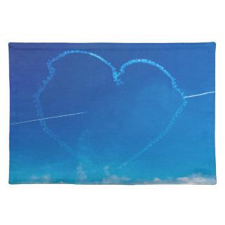 Heart-shaped plane trails placemat