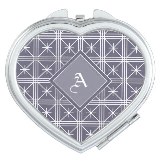 Heart-Shaped, Purple-Patterned Compact Mirror