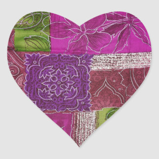 Heart Shaped Purple Quilt Pattern Sticker