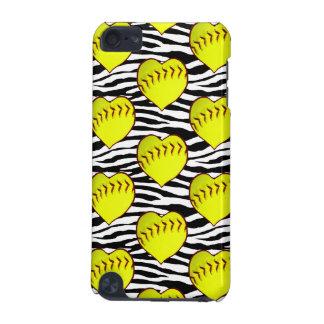 Heart Shaped Softballs On Zebra Pattern iPod Touch (5th Generation) Case