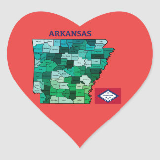 Heart shaped sticker with Flag and Map of Arkansas
