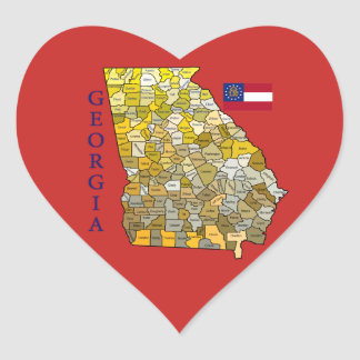 Heart Shaped Sticker with Flag and Map of Georgia