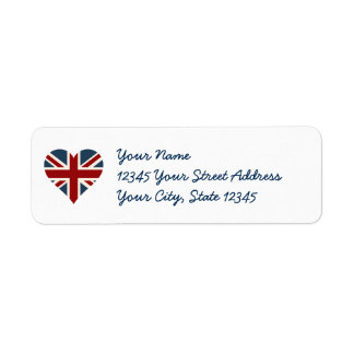 Heart Shaped Union Jack Flag Return Address Label