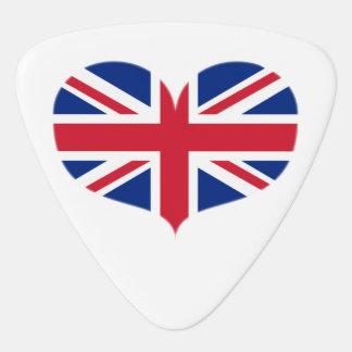 Heart Shaped United Kingdom Flag / Union Jack Guitar Pick