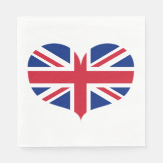 Heart Shaped United Kingdom Flag / Union Jack Napkin
