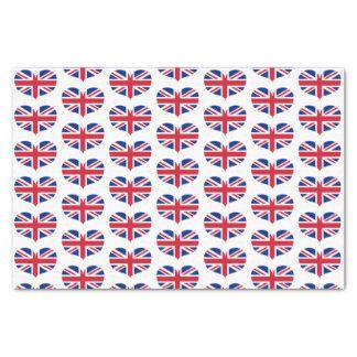 Heart Shaped United Kingdom Flags / Union Jack Tissue Paper