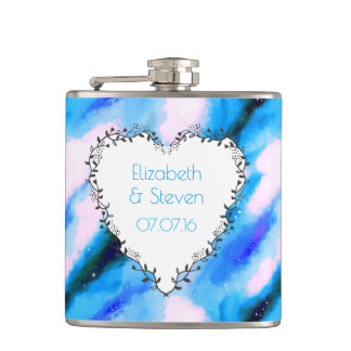 Heart Shaped Wreath On Blue Abstract Wedding Favor Flasks