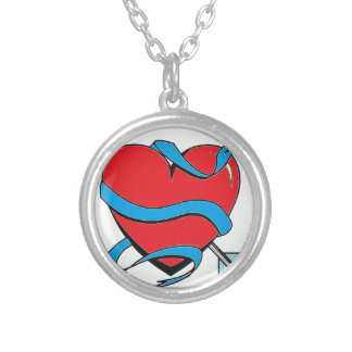 Heart shoots an arrow silver plated necklace
