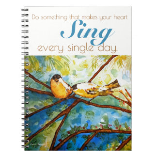 Heart Sing Quote Birds Watercolor Spiral Notebook