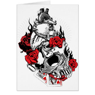 Heart, Skull and Roses - Valentine's Day Card