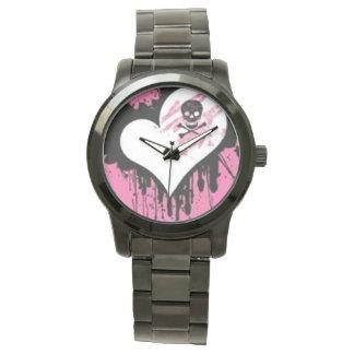Heart & Skull Oversize Black Stainless Steal Watch