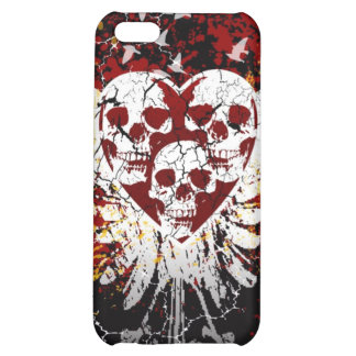 Heart Skulls iphone 4 Hard Case Cover For iPhone 5C