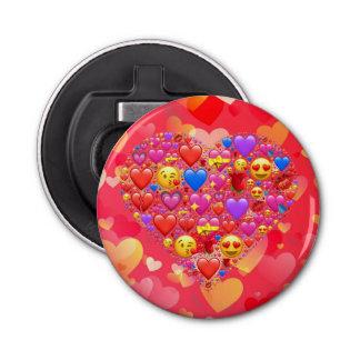 Heart smiley button bottle opener