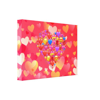 Heart smiley canvas print