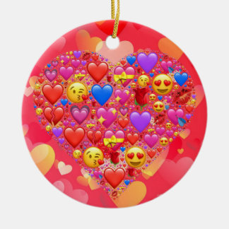 Heart smiley ceramic ornament