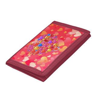Heart smiley tri-fold wallets