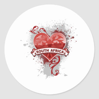 Heart South Africa Classic Round Sticker