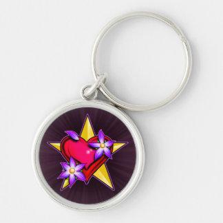 Heart Star Design Silver-Colored Round Keychain