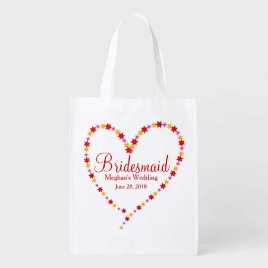 Heart & Stars Bridesmaid Tote Bag Template Grocery Bag