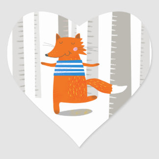 Heart Sticker, Cute Fox Heart Sticker