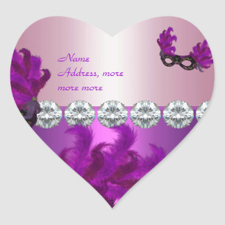Heart Sticker Purple Pink Diamond Feathers