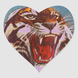 Heart Sticker Stationery Envelope Seals Tiger Roar