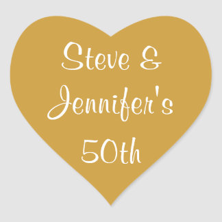 Heart Stickers 50th Wedding Golden Anniversary 50