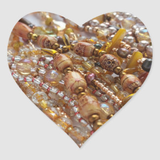 Heart Stickers- Earthtones Beads Print Heart Sticker