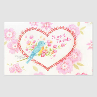 Heart  Stickers Sweet Tweets Blue Bird Floral