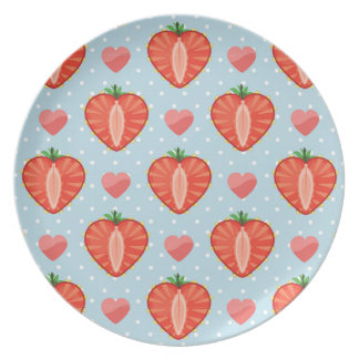 Heart Strawberries with Polka Dots And Hearts Dinner Plate