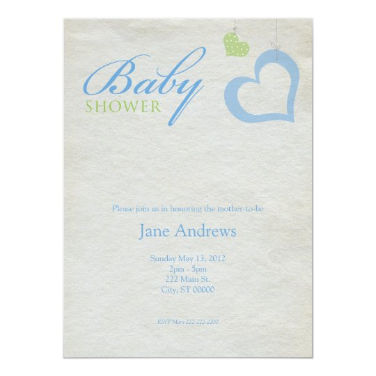 "Heart Strings Baby Shower - Blue & Green 5.5"" X 7.5"" Invitation Card"