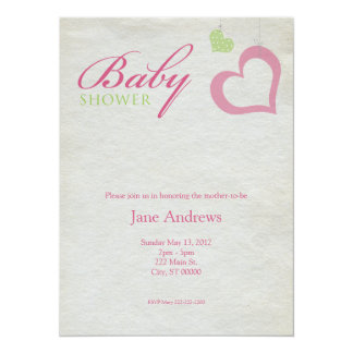 Heart Strings Baby Shower - Pink & Green Card