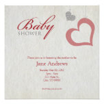 Heart Strings Baby Shower - Red & Black Personalized Invite