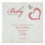 """Heart Strings Baby Shower - Red & Black 5.25"""" Square Invitation Card"""