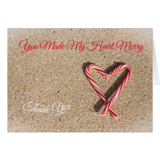 Heart Stripe Christmas Candy Cane Thank You Card