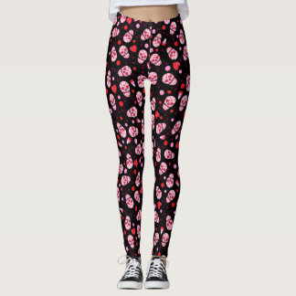 Heart Sugar Skull & Arrows Black Leggings
