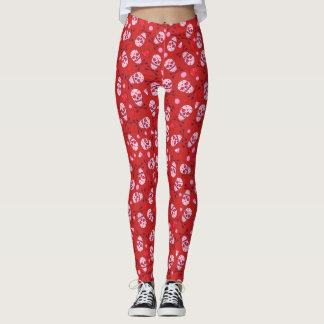 Heart Sugar Skull & Arrows Red Leggings